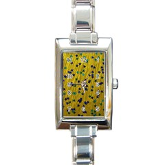 Abstract Gold Background With Blue Stars Rectangle Italian Charm Watch