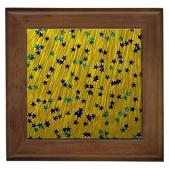 Abstract Gold Background With Blue Stars Framed Tiles