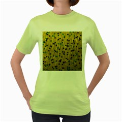 Abstract Gold Background With Blue Stars Women s Green T Shirt