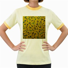 Abstract Gold Background With Blue Stars Women s Fitted Ringer T Shirts