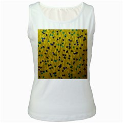 Abstract Gold Background With Blue Stars Women s White Tank Top