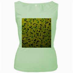 Abstract Gold Background With Blue Stars Women s Green Tank Top