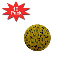Abstract Gold Background With Blue Stars 1  Mini Magnet (10 Pack)