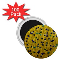 Abstract Gold Background With Blue Stars 1.75  Magnets (100 pack)