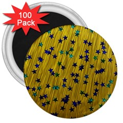 Abstract Gold Background With Blue Stars 3  Magnets (100 Pack)