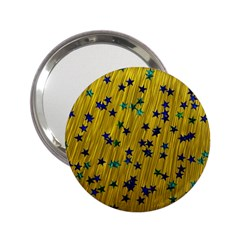Abstract Gold Background With Blue Stars 2.25  Handbag Mirrors