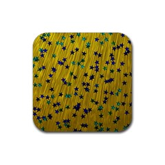 Abstract Gold Background With Blue Stars Rubber Coaster (Square)