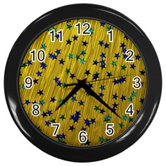 Abstract Gold Background With Blue Stars Wall Clocks (Black)