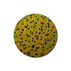 Abstract Gold Background With Blue Stars Rubber Round Coaster (4 Pack)