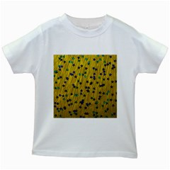 Abstract Gold Background With Blue Stars Kids White T Shirts