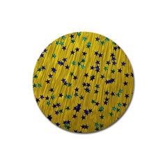 Abstract Gold Background With Blue Stars Magnet 3  (round)
