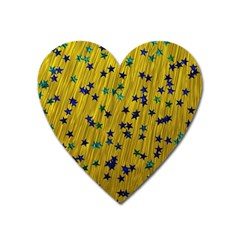 Abstract Gold Background With Blue Stars Heart Magnet