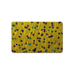 Abstract Gold Background With Blue Stars Magnet (Name Card)