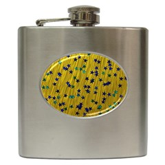 Abstract Gold Background With Blue Stars Hip Flask (6 oz)