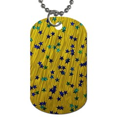 Abstract Gold Background With Blue Stars Dog Tag (two Sides)
