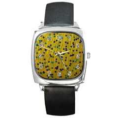 Abstract Gold Background With Blue Stars Square Metal Watch