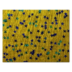 Abstract Gold Background With Blue Stars Rectangular Jigsaw Puzzl