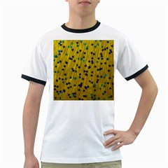 Abstract Gold Background With Blue Stars Ringer T Shirts