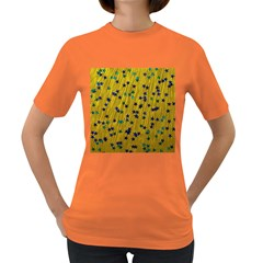 Abstract Gold Background With Blue Stars Women s Dark T Shirt