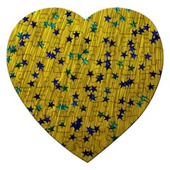 Abstract Gold Background With Blue Stars Jigsaw Puzzle (heart)