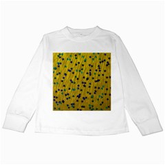 Abstract Gold Background With Blue Stars Kids Long Sleeve T-Shirts