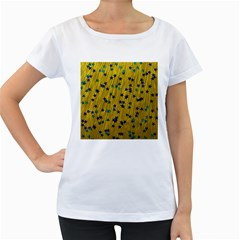 Abstract Gold Background With Blue Stars Women s Loose Fit T Shirt (white)