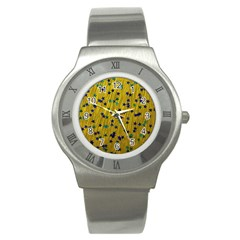 Abstract Gold Background With Blue Stars Stainless Steel Watch