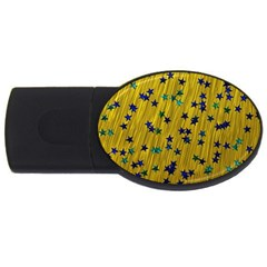 Abstract Gold Background With Blue Stars Usb Flash Drive Oval (4 Gb)