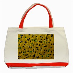 Abstract Gold Background With Blue Stars Classic Tote Bag (red)