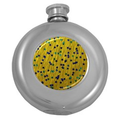 Abstract Gold Background With Blue Stars Round Hip Flask (5 oz)