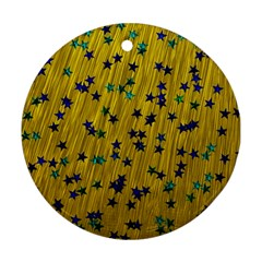 Abstract Gold Background With Blue Stars Round Ornament (two Sides)