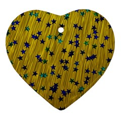 Abstract Gold Background With Blue Stars Heart Ornament (two Sides)