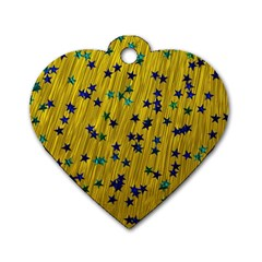 Abstract Gold Background With Blue Stars Dog Tag Heart (one Side)