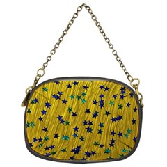 Abstract Gold Background With Blue Stars Chain Purses (two Sides)