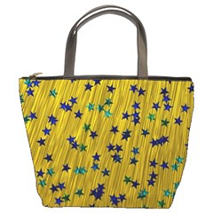 Abstract Gold Background With Blue Stars Bucket Bags
