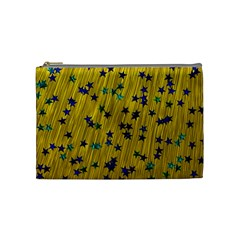 Abstract Gold Background With Blue Stars Cosmetic Bag (medium)