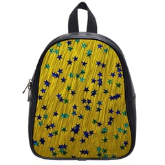 Abstract Gold Background With Blue Stars School Bags (small)