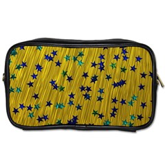 Abstract Gold Background With Blue Stars Toiletries Bags