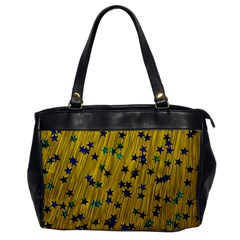 Abstract Gold Background With Blue Stars Office Handbags