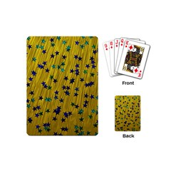 Abstract Gold Background With Blue Stars Playing Cards (mini)