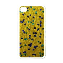 Abstract Gold Background With Blue Stars Apple iPhone 4 Case (White)