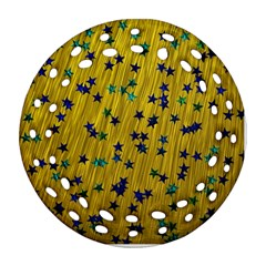 Abstract Gold Background With Blue Stars Ornament (round Filigree)
