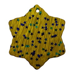 Abstract Gold Background With Blue Stars Snowflake Ornament (two Sides)