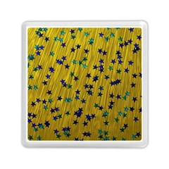 Abstract Gold Background With Blue Stars Memory Card Reader (square)