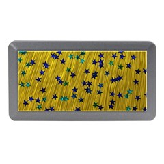 Abstract Gold Background With Blue Stars Memory Card Reader (Mini)