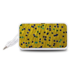 Abstract Gold Background With Blue Stars Portable Speaker (White)