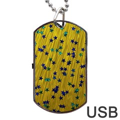 Abstract Gold Background With Blue Stars Dog Tag Usb Flash (one Side)