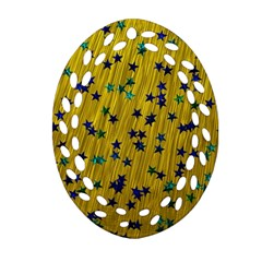 Abstract Gold Background With Blue Stars Ornament (Oval Filigree)