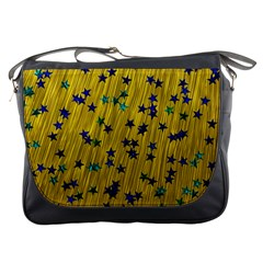Abstract Gold Background With Blue Stars Messenger Bags