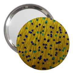Abstract Gold Background With Blue Stars 3  Handbag Mirrors